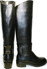 Сапоги женские зимние кожаные черные на низком каблуке