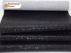 Крупный глиттер на тканевой основе черный НЕФОРМАТ