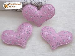 Мягки декор сердечки перфорированные розовые