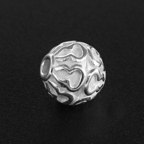 Бусина Джамбо 10 мм светлое серебро 925