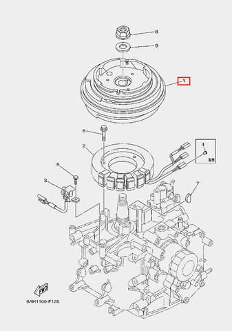 Ротор в сборе для лодочного мотора F20 Sea-PRO (11-1)