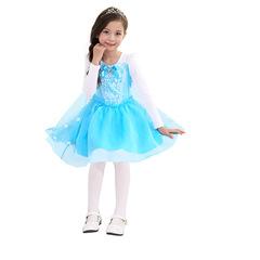 Платье Эльзы с короткой юбкой и снежинками + подарок Диадема и Волшебная палочка