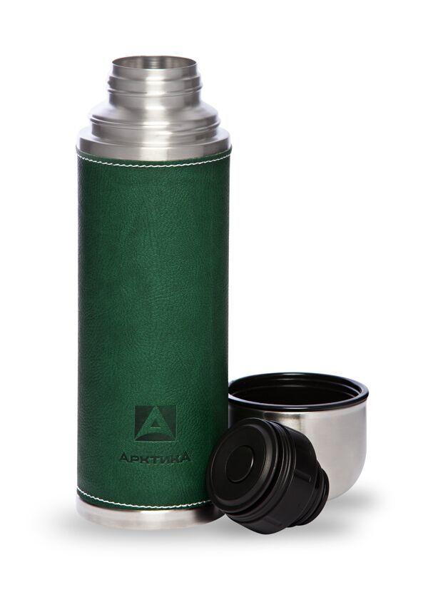 Термос Арктика (1 литр) с узким горлом, зеленый, кожаная вставка