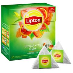 Чай Lipton Strawberry Cake зеленый байховый пирамидки,20пак/уп.