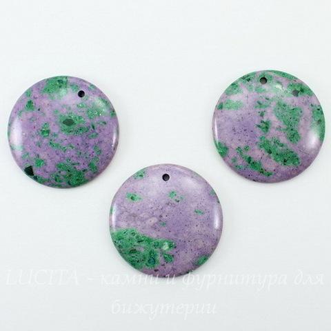 Подвеска круглая Цоизит (искусств), цвет - фиолетовый с зеленым, 40 мм