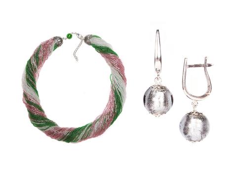 Комплект украшений розово-зеленый №1 (серьги-бусины, ожерелье из бисера 48 нитей)