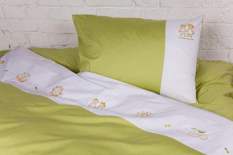 Детское постельное белье German Grass Kinder Gertrude бело-зеленое вышивка