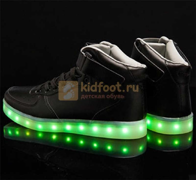 Светящиеся высокие кроссовки с USB зарядкой Fashion (Фэшн) на шнурках и липучках, цвет черный, светится вся подошва