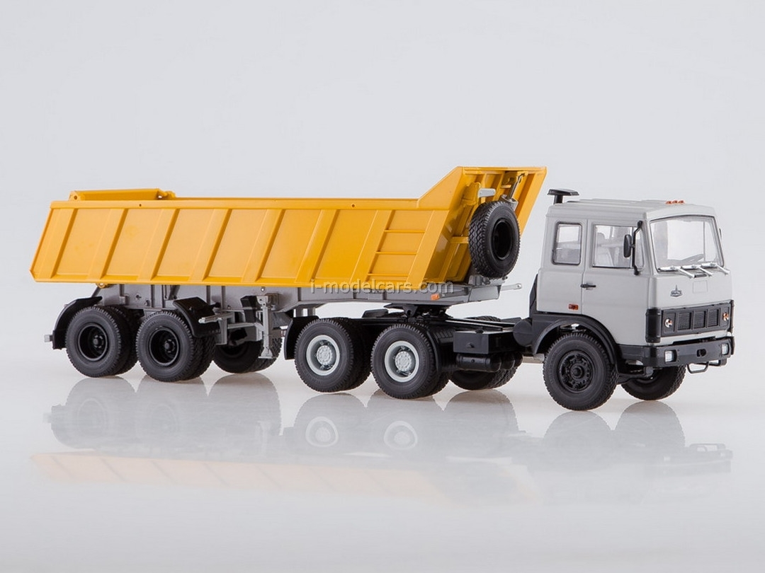 MAZ-6422 (early) with a tipper semi-trailer MAZ-9506-20 gray-orange 1:43 AutoHistory