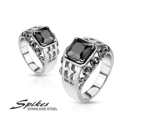 Мужской перстень «Spikes» из ювелирной стали с черным камнем