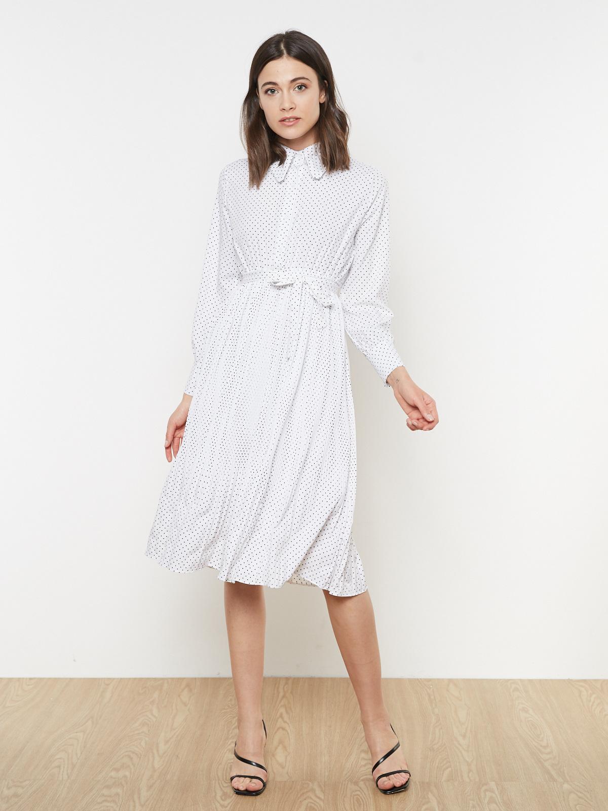Платье в горошек плиссе
