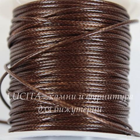 Шнур вощеный, 1 мм, цвет - коричневый, примерно 10 м