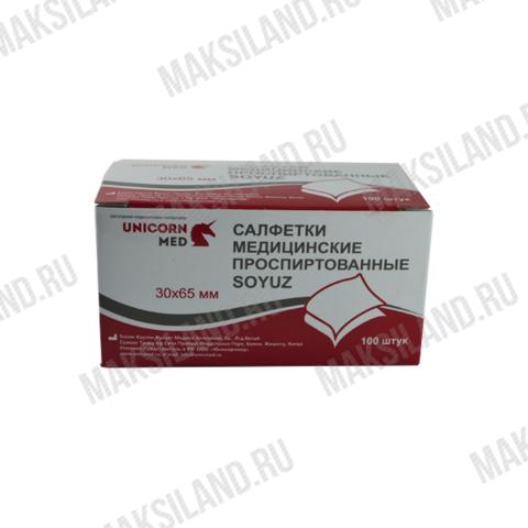 Салфетка спиртовая для инъекций 30х65 мм /SOYUZ/100 уп. UNICORNMED