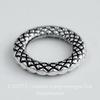 Коннектор - кольцо с узором 14 мм (цвет - античное серебро)