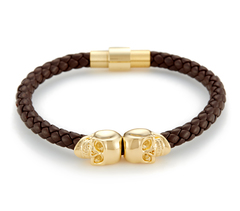 Браслет Northskull Brown Nappa Leather/ 18kt. Gold Twin Skull Bracelet из натуральной кожи