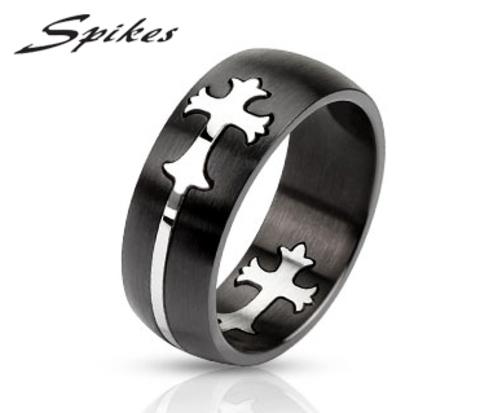 Мужское кольцо «Spikes» черного цвета со вставкой крестом