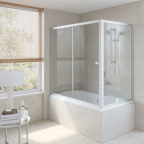 Шторка на ванну Vegas Glass ZV+ZVF профиль матовый хром, стекло прозрачное