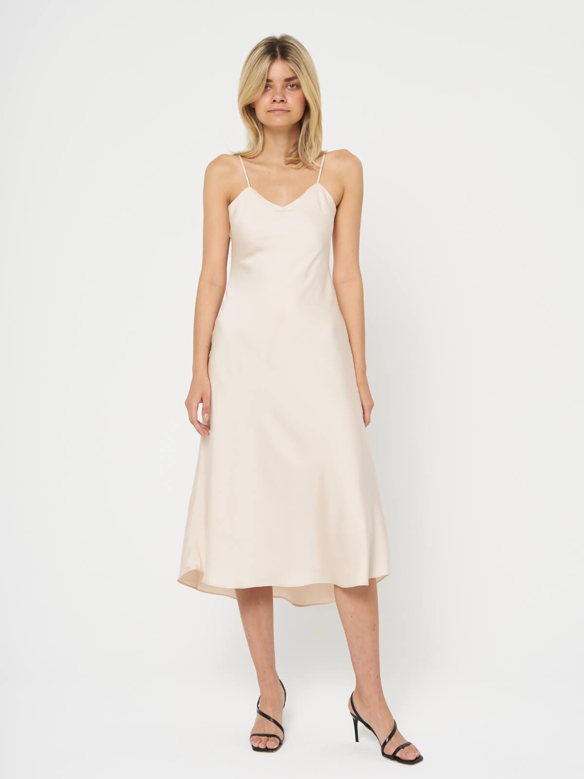 Платье на бретельках асимметричное