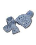 Шапка и шарф - Голубой. Одежда для кукол, пупсов и мягких игрушек.