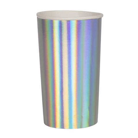 Большие серебряные голографические стаканы для коктейлей