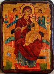 Всецарица. Икона Божьей Матери на дереве под старину.