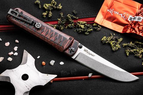 Складной нож Whisper D2 StoneWash Red
