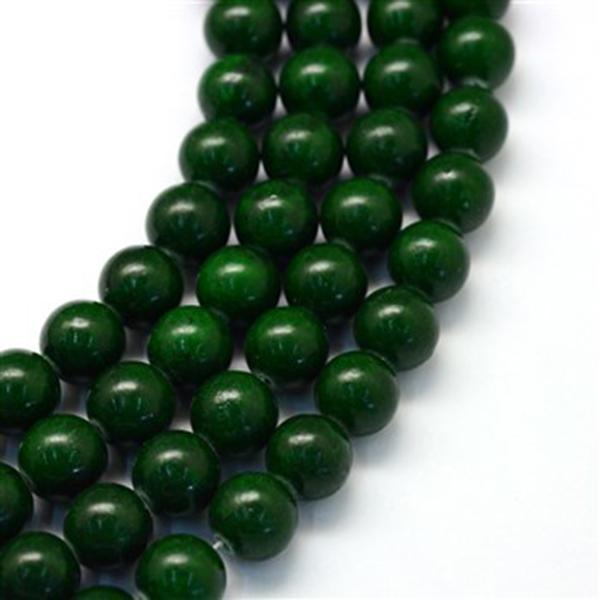 Бусины 15 мм из тёмно-зелёного нефрита.