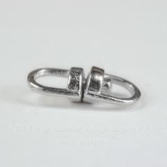 Коннектор поворотный для брелока 14х6 мм (цвет - античное серебро)
