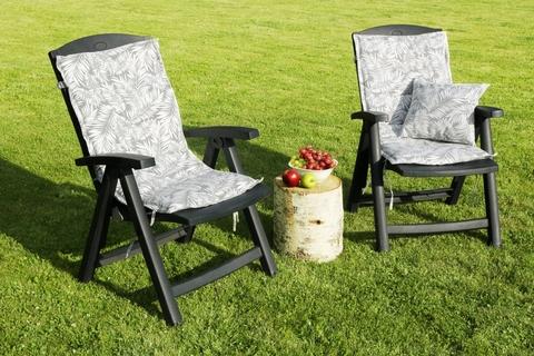 Подушка на стул со спинкой Пальма серый уличная коллекция