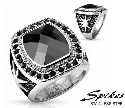 R-H9927 Мужской перстень с черным камнем (&#34Spikes&#34)