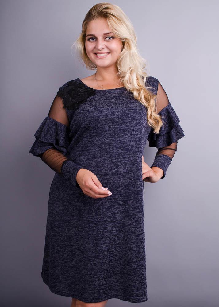 e3509ae95d17bb Юнона ангора. Стильна сукня для жінок з пишними формами. Синій меланж.