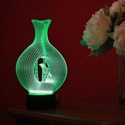 3D светильник Ваза с птичкой