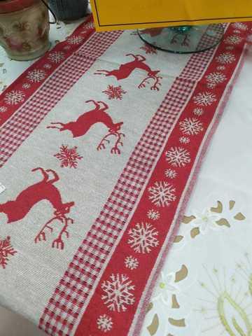 Настольная дорожка-скатерть с оленями (новогодняя)