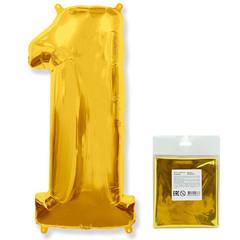 F Цифра, 1, Золото, 40''/102 см, 1 шт. в упаковке