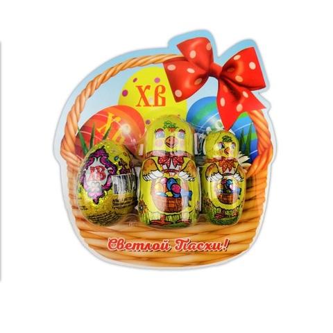 Пасх. набор : 1 цыпленок 18г, 1 цыпленок 35г, шоколадное яйцо 20г в блистерной упаковке 1кор*2бл*12шт,73 гр