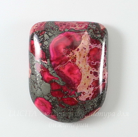 Кабошон Яшма Императорская (прессов., тониров), цвет - розовый, 28х22 мм