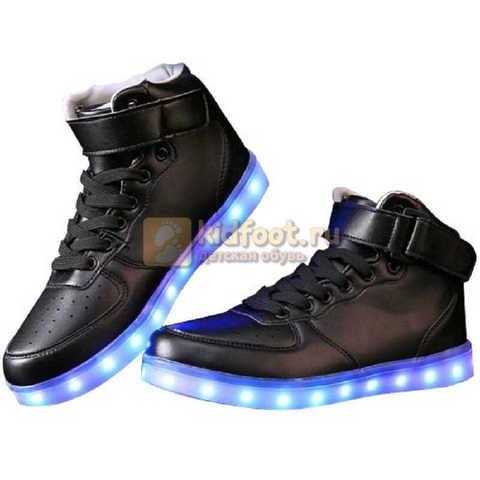 Светящиеся высокие кроссовки с USB зарядкой Fashion (Фэшн) на шнурках и липучках, цвет черный, светится вся подошва. Изображение 10 из 22.