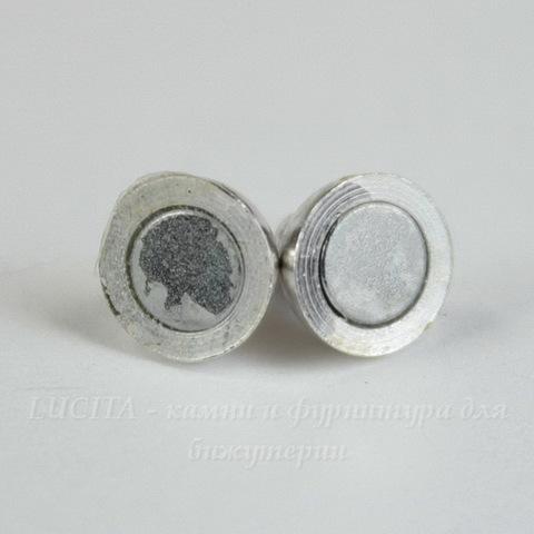 Замок из 2х частей магнитный круглый 11х6 мм (цвет - серебро)