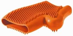Резиновая перчатка для вычесывания шерсти оранжевая для собак, Hunter Smart