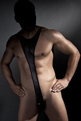 Мужское эротическое боди открытое черное