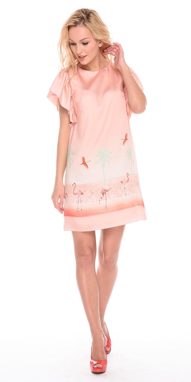 Платье З191-733 - Отличное платье, свободного кроя выглядит невероятно удобным. В плечевые швы вшиты широкие воланы. Просторное платье практически не ощущается на теле.