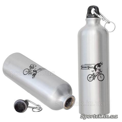 Алюминиевая велосипедная фляга на 750 мл - серебристая