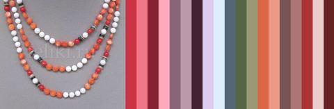 некоторые варианты цветового сочетания коралловых бус и одежды