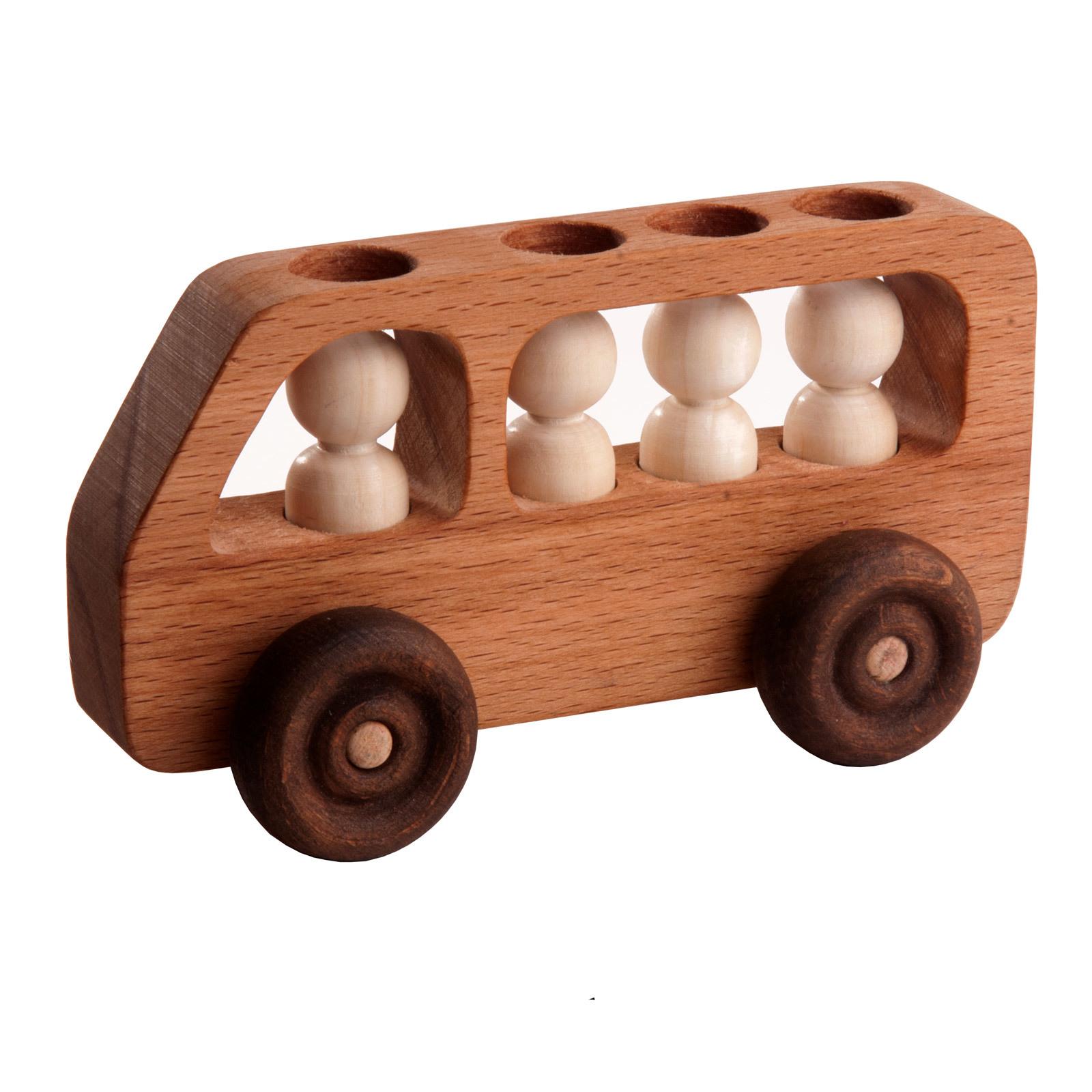 Машинка деревянная Автобус с пассажирами