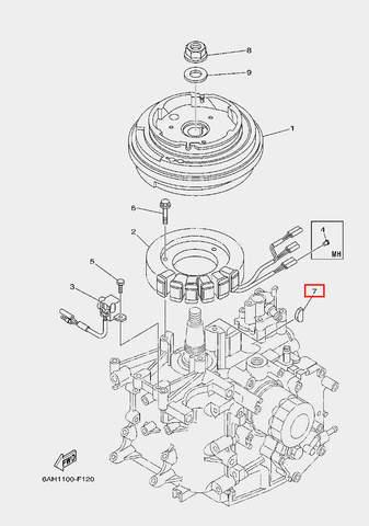 Шпонка ротора для лодочного мотора F20 Sea-PRO (11-7)