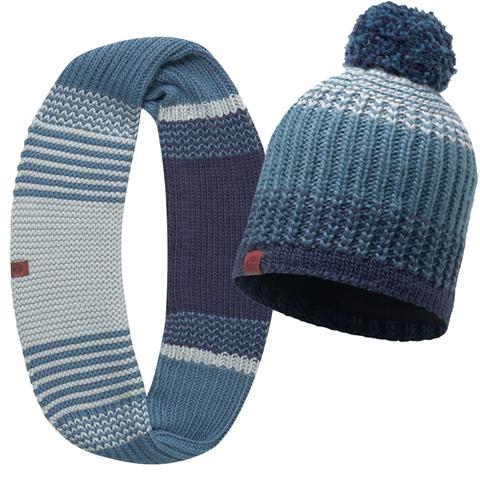 Комплект шапка шарф вязаный с флисом Buff Borae Mazarine Blue 2