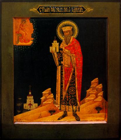 Икона святой великий князь Владимир 19 век на дереве на левкасе мастерская Иконный Дом