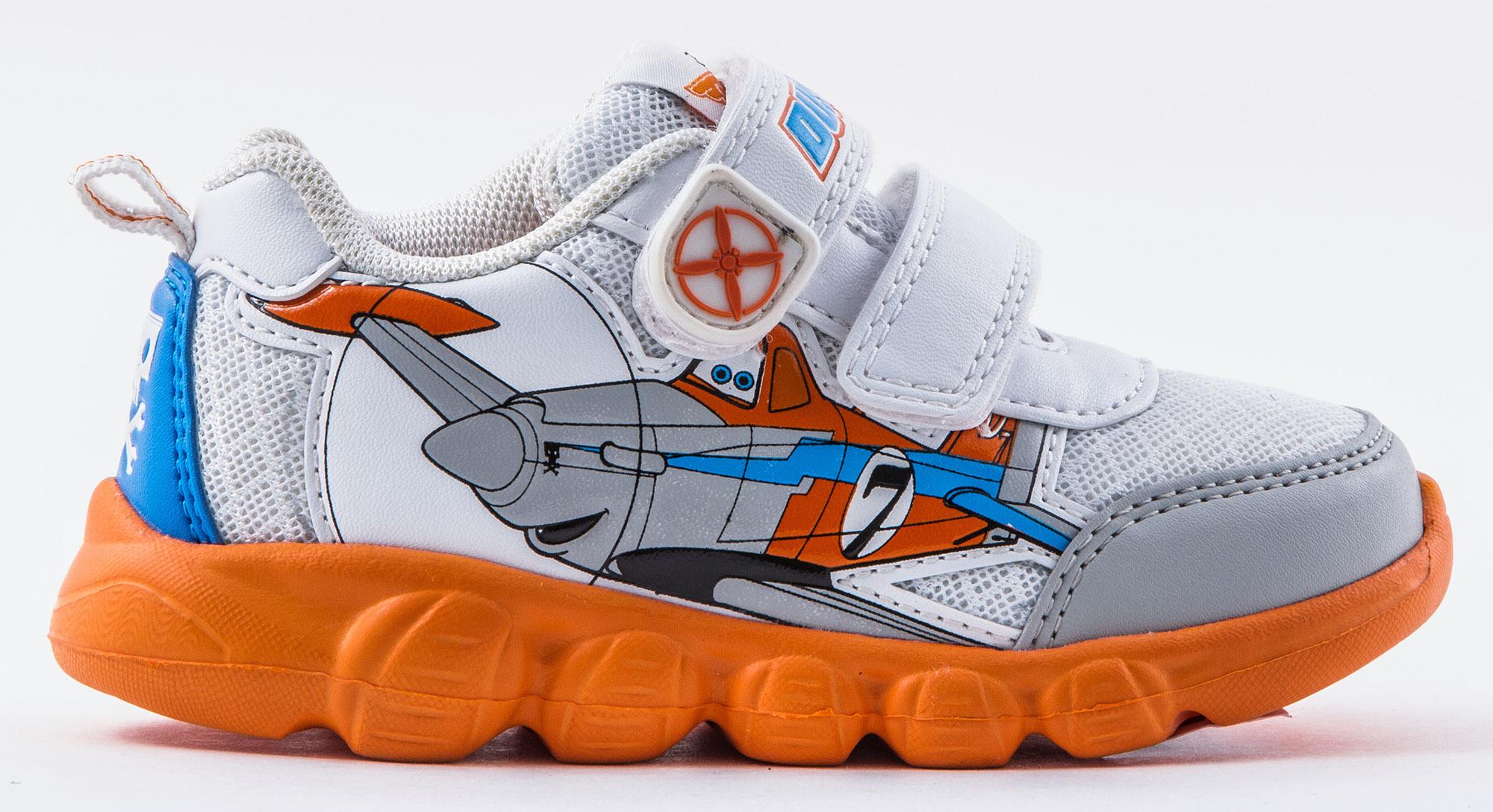 Кроссовки Самолеты (Planes) на липучках для мальчиков, цвет белый оранжевый