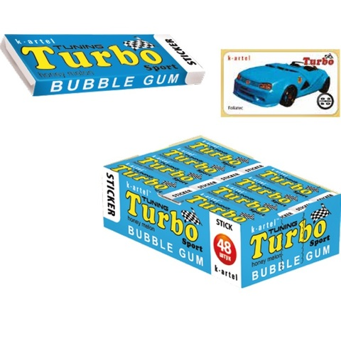 8x48 «TURBO». Резинка жевательная недражированная со вкусом дыни с наклейкой 1кор*8бл*48шт,14 гр.