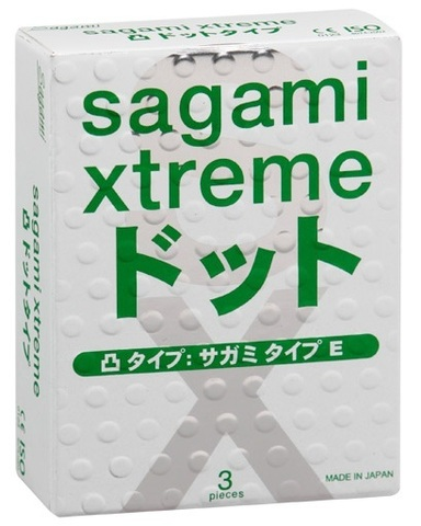 Презервативы Sagami Xtreme Type-E с точками - 3 шт.